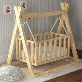 Montessori Ahşap Beşik Bebek Beşiği Sallanır Doğal Organik