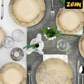 Zem Frezya Porselen 24 Parça 6 Kişilik Yemek Takımı