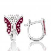 Gümüş Kırmızı Kelebek Çocuk Küpesi
