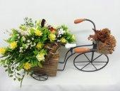 Eski Tarz Lüks Dekoratif Bisiklet Sepetli Kova Çiçekli Süslemeli