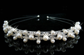 Yeni Parlak Kristal Taklidi Inci Bandı Gümüş Düğün Tiara Saç