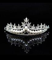 Beyaz Kristal Güzel Tasarımlı El Yapımı Gelin Tacı