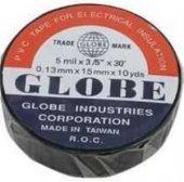 Globe Pvc İzole Band Renkli Elektrik Bantı 19mm X 10 Mt Siyah