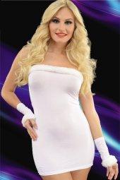 Beyaz Eldivenli Transparan Gece Elbisesi