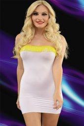 Transparan Beyaz Clup Mini Elbise
