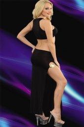 Siyah Uzun Yırtmaçlı Gece Kıyafeti
