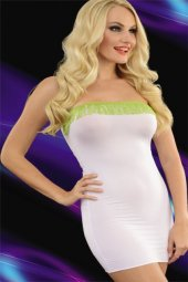 Beyaz Püsküllü Transparan Gece Elbisesi