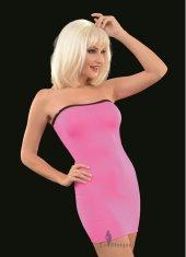 Transparan Pembe Mini Elbise