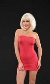 Kırmızı Zincirli Staplez Mini Elbise