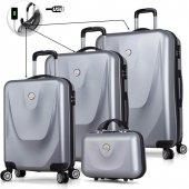 My Valice Smart Bag Energy Usb Şarj Girişli 4lü Valiz Seti (Travel Set) Gri