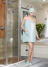 Zirve Home Philippus Bayan Banyo Sauna Havlu Seti Su Yeşili