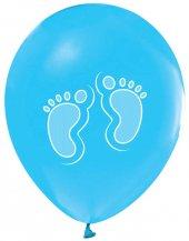 Balon Baskılı 12 İnc 1+1 Ayakizi Metalik Mavi Pk 100 Adet