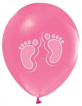 Balon Baskılı 12 İnc 1+1 Ayakizi Metalik Pembe Pk 100 Adet