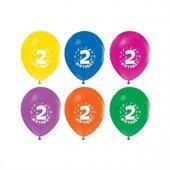 Balon Baskılı 12 İnc 1+1 Happy Birthday 2 Yaş Karışık Renkli Pk 16 Adet