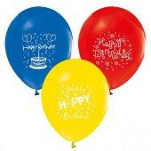 Balon Baskılı 12 İnc 1+1 Happy Birthday 1 Yaş Karışık Renkli Pk 100 Adet