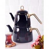 Nishev Emaye Çaydanlık Takımı Siyah
