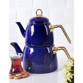 Nishev Emaye Çaydanlık Takımı Kobalt