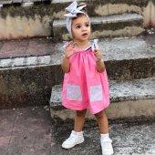 Askılı Cepli Bebek Elbise Ve Fiyonklu Bandana