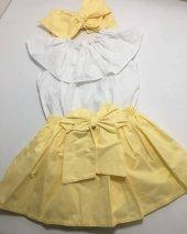 Bebek İçin Sarı Etek Beyaz Bluz Kombini Ve Fiyonklu Saç Bandı