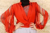 Kozoil Kol Detaylı Bluz | Turuncu
