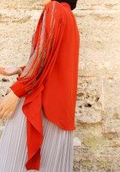 Kozoil Kol Detaylı Bluz | Turuncu-5