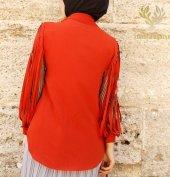 Kozoil Kol Detaylı Bluz | Turuncu-6