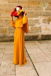 Kozoil Pelerin Elbise Hardal