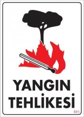 Yangın Tehlikesi Uyarı Levhası 25x35 Kod 851