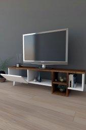 Platin Dekoratif Raflı TV Ünitesi Televizyon Sehpası Barog Ceviz