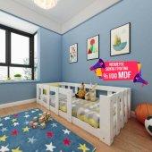 Herşeycik Elit Montessori Çocuk Genç Karyola Mdf Beyaz Y10