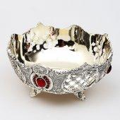 Kırmızı Taş İşlemeli Gümüş İkramlık-2
