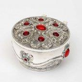 Yuvarlak Kırmızı Taşlı Gümüş Mücevher Kutusu 4616
