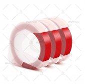 şerit Etiket Plastik Kabartma Motex E 101 (9mm X 3 Metre) 3 Adet (Kırmızı)