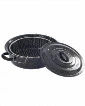 Kapaklı Emaye 25cm Cips Fritöz Kızartma Tenceresi Siyah