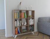 Platin Küp Kitaplık 9 Bölmeli Kare Kitaplık Raf Kütüphane Ceviz