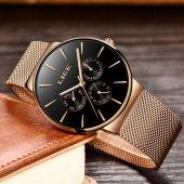 Lige Klasik Tasarım Hasır Kordon Erkek Kol Saati