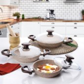 Falez Creamy Döküm Granit 6 Parça Sahan Seti...
