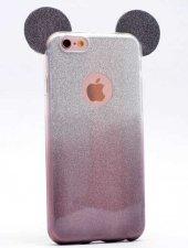 Apple iPhone 6 Kılıf Zore Micky Kulaklı Simli Silikon-5