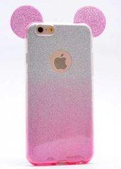Apple iPhone 6 Kılıf Zore Micky Kulaklı Simli Silikon-6