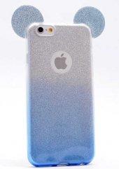 Apple iPhone 6 Kılıf Zore Micky Kulaklı Simli Silikon-7