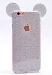 Apple iPhone 6 Kılıf Zore Micky Kulaklı Simli Silikon-8
