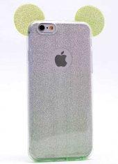 Apple iPhone 6 Kılıf Zore Micky Kulaklı Simli Silikon-10