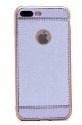 Apple iPhone 7 Plus Kılıf Zore Deri Lazer Kaplama Silikon-6