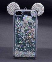 Apple iPhone 7 Plus Kılıf Zore Micky Taşlı Sıvılı Silikon-8