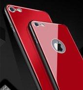 Apple iPhone 8 Kılıf Zore Düz Renkli Ebruli Cam Kapak-2
