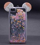Apple iPhone 8 Kılıf Zore Micky Taşlı Sıvılı Silikon