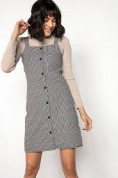 Liplipo Askılı Önü Düğmeli Ekose Elbise