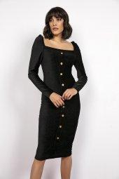 Liplipo Önü Düğmeli Fitilli Kadife Elbise