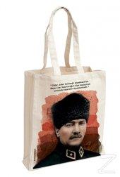 Atatürk (Kalpaklı) Aforizma Bez Çanta