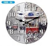 Dekoratif Bombeli Cam Duvar Saati 1968-064 - Taksim